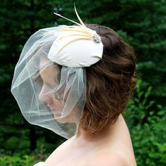 Champagne Bridal Hat1940s 1950s style by RoseRedBridalDesigns, $85.00