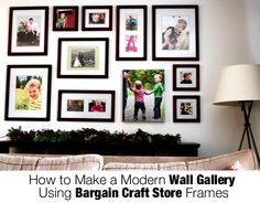 How to make a modern wall gallery using bargain frames.