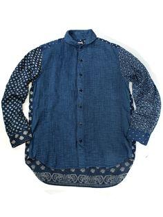 French linen 2TONE cross pin tuck shirt | KAPITAL - WEB SHOP