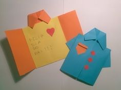 Postal dia do Pai - Camisa de Papel - Dia del Padre - Father& Day - Crafts Videos - Bastelarbeiten Videos , Fathers Day Art, Fathers Day Crafts, Happy Fathers Day, Handmade Father's Day Gifts, Handmade Birthday Cards, Origami Shirt, Diy Origami, Teachers Day Card, Jw Gifts