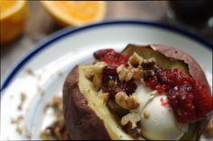 Baked Japanese Sweet Potatoes, with cranberries, walnuts, and greek yogurt cream cheese. Gluten Free and Vegetarian