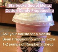 Frappuccino with cotton candy from Starbucks. Heaven in a cup :] order a vanilla bean .Frappuccino with cotton candy from Starbucks. Heaven in a cup :] Order a vanilla bean frappuchino with a pinch of Starbucks Secret Menu Items, Starbucks Hacks, Healthy Starbucks Drinks, Starbucks Secret Menu Drinks, How To Order Starbucks, Yummy Drinks, Healthy Drinks, Yummy Food, Starbucks Frappuccino