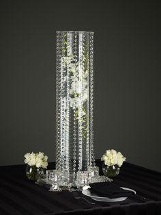 crystal cascade with floral centerpiece #crystal centerpiece #wedding centerpiece #gala ball centerpiece #award centerpiece  www.decorit.com.au
