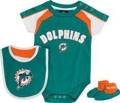 Miami Dolphins Newborn Aqua Team Creeper, Bib, Bootie Set