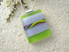 Green Purple NecklaceDichroic Jewelry Dichroic Glass by ccvalenzo