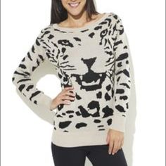 Leopard Sweater Cute and comfortable leopard sweater. Never worn but it doesn't fit anymore. In great condition. I like it with paired with a scarf. Perfect for the cat lover with a fierce spirit. Wet Seal Sweaters Crew & Scoop Necks