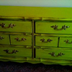 French provincial dresser. Refurbished bright green and rubbed w/ stain.