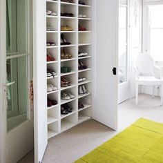 this is a great shoe storage option, you can close the door so it doesn't look so messy and cluttered!