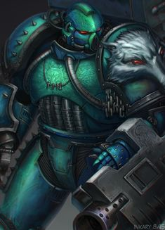 "inkary: "" Alpha Legion devastator sgt with a thing for wolves. My ""re-imagination"" of Messor Bitterhand by Greyall, the original drawing is a devastator from fan-made chapter Alpha Hounds. Digital painting done in Paint tool SAI. DeviantArt mirror...."