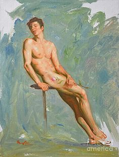 Hongtao     Huang - ORIGINAL IMPRESSION OIL PAINTING GAY MAN BODY ART MALE NUDE AND RED ROSE