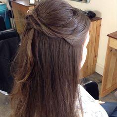 Half Up Hair. Wedding Hair And Makeup, Hair Makeup, Hair Twists, Half Up, Wedding Hairstyles, Braids, Blush, Waves, Long Hair Styles