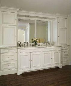 Master Bathroom - traditional - bathroom - detroit - CBI Design Professionals, Inc. Bathroom Built Ins, Bathroom Linen Tower, White Bathroom Cabinets, Bath Cabinets, Bathroom Storage, Small Bathroom, Bathroom Ideas, White Cabinets, Bath Ideas
