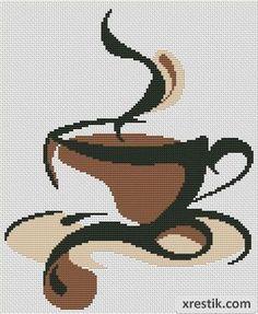 Размер в крестиках: 120х146. Количество оттенков: 3. Схема для вышивки ароматного кофе. Вышивка для кухни.