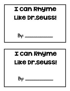 This freebie is a fun activity for Dr. Seuss day or to practice rhyming words! Students will fill in the blank with a rhyming word and then draw a picture to match.