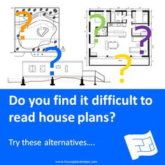 Do you find reading house plans difficult?  Check out these alternatives.  Also check out the info on how to read floor plans. Click through to www.houseplanshelper.com for more on home design. Blueprint Symbols, Floor Plan Symbols, Title Block, Free Floor Plans, Study Site, Section Drawing, Tent Pegs, Roof Lines, Site Plans