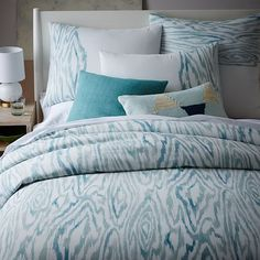 Woodgrain Ikat Duvet Cover, Full/Queen, Light Pool  Love the pattern but can't decide if it's too busy for us or not