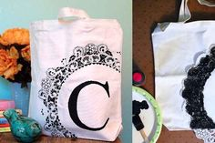 Monogram Stenciled Canvas Tote 10 Simple Ways To Upgrade A Basic Tote Bag Monogram Stencil, Stencil Diy, Stencils, Painted Bags, Fabric Stamping, Canvas Tote Bags, Canvas Totes, Craft Night, Tampons