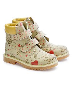 Loving this Ivory 'Cute Bear' Dual-Closure Combat Boot - Kids on #zulily! #zulilyfinds