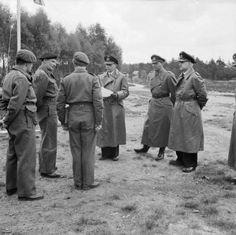 Field Marshal Bernard Montgomery (second from left) greets German delegation (L to R – Adm. von Friedeburg, Gen. Kinzel and Rear Adm. Wagner) on 3 May 1945 at Lüneburg Heath.
