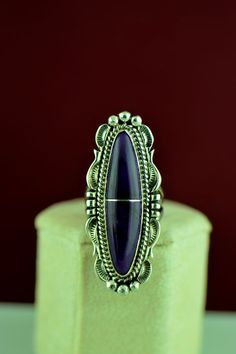 Navajo – Exquisite Sterling Silver Sugilite Ring by Will Denetdale Size 6