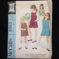 McCalls Sewing Pattern 8863 Girls Size 12 Dress Pantdress Pantjumper Blouse VTG