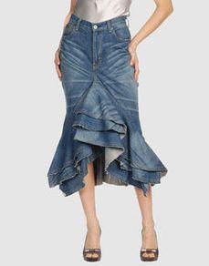 Denim skirt by JUNYA WATANABE. Repurpose a pair of capris into this?