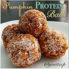 Pumpkin Protein Balls  75Cal/2.4F/5.2C/7.6P   1/2 c pumpkin  1 tbsp natural PB  1 tbsp sugar free maple syrup, honey, or agave  1 tbsp or 2 pkts stevia  1/2 tsp vanilla  1 tsp cinnamon  1/2 tsp pumpkin spice (or you can use 1/4 tsp nutmeg, 1/8tsp ginger)  1 scoop vanilla protein   2 c Kamut puffed cereal   1 tbsp unsweetened reduced fat shredded coconut (opt.)