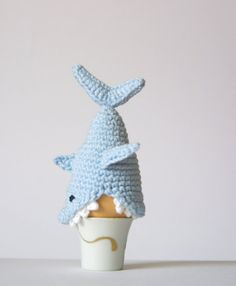 Crochet Shark Egg Cozy PDF Pattern Instant Download by SpringFresh