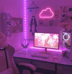 Neon Bedroom, Cute Bedroom Decor, Bedroom Setup, Room Design Bedroom, Room Ideas Bedroom, Gaming Room Setup, Pc Setup, Gaming Rooms, Computer Gaming Room