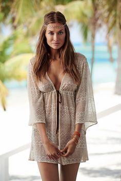 82b08bf74a The PilyQ Swimwear Mosaic Gold Isabella tie tunic has wide kimono length  sleeves