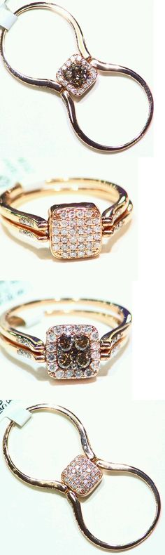 Rings 165044: .75Ct 14K Gold Natural Cut White Brown Diamond Vintage Flip Engagement Ring Deco BUY IT NOW ONLY: $751.0