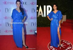 In DvF : Neha Dhupia or Rosario Dawson? At the Femina Awards 2012 Neha Dhupia wore a Diane von Furstenberg Fall 2011 dress with a revealing thigh-high slit.    Rosario Dawson wore this shimmery blue wrap dress to the 2011 Vanity Fair Awards last year. I think Both actresses looked lovely. Do you have a favorite?
