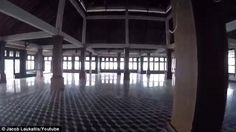A massive ballroom at the Ghost Palace Hotel that was constructed in the 1990s but never opened to the public