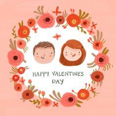 Custom Illustrated Couple Portrait Valentines by kathrynselbert, $40.00