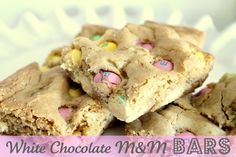 white chocolate m&m bars -going to make with easter m&m's but chocolate, not a fan of white chocolate.