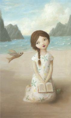 Stephen Mackey an American illustrator. Woman Reading, Kids Reading, Stephen Mackey, Art Fantaisiste, Illustrator, Photo D Art, I Love Books, Whimsical Art, Art And Illustration