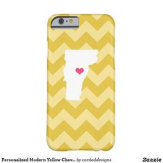 Personalized Modern Yellow Chevron Vermont Heart Barely There iPhone 6 Case