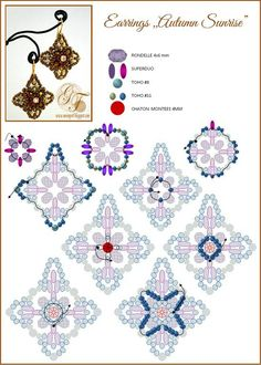 Earrings/Ring  AUTUMN SUNRISE - FREE Pattern. Page 2/2. By MoonPerl.