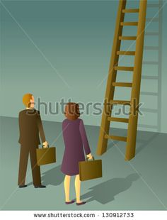 A business man and woman getting ready to climb the corporate ladder. - stock vector