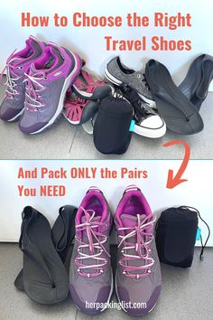For many ladies, trying to pack shoes for a trip is the hardest part of the packing process. Stress no more! HPL has put together a guide that breaks down the type of shoes you might need for travel into specific categories - along with some basic guidelines - that can help you to just pack 2 or 3 pairs for your next getaway! Save this post! #herpackinglist #shoes #travelshoes #hplworld #howtopackforatrip #minimalisttravel #packinglight Best Walking Sandals, Comfortable Walking Sandals, Comfortable Shoes, Hiking Shoes, Running Shoes, Her Packing List, Backpack Reviews, Travel Shoes, Black Ballet Flats