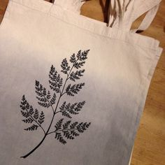 Hand dip-dyed and printed cotton tote bag by Holly Trill. #fern #grey #madeincolchester