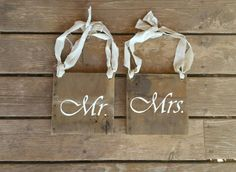Mr and Mrs Chair Signs. Made out of rustic barnwood.  laceandbrassevents.com  Check out this item in my Etsy shop https://www.etsy.com/listing/242128354/mr-and-mrs-chair-sign-rustic-barnwood