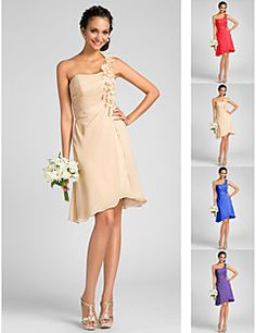 Knee-length Chiffon Bridesmaid Dress - Ruby / Royal Blue / Champagne / Regency Plus Sizes / Petite A-line / Princess One Shoulder