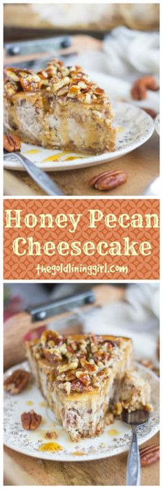 Honey Pecan Cheesecake with Pecan Shortbread Crust. Pecan pie built into rich cheesecake, with a pecan shortbread crust, and topped with honey-pecan sauce! Pecan Cheesecake, Homemade Cheesecake, Cheesecake Recipes, Cheesecake Cookies, Great Desserts, Best Dessert Recipes, Delicious Desserts, Holiday Recipes, Honey Recipes