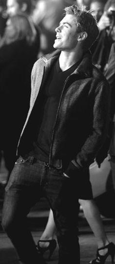 Zac Efron as Christian Grey heading to the club with Ana, Elliott & Kate.