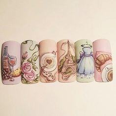 #nailart #parisnail #pastelnail Dream Nails, Love Nails, Gorgeous Nails, Pretty Nails, Paris Nails, Fingernails Painted, Romantic Nails, Vintage Nails, Manicure E Pedicure