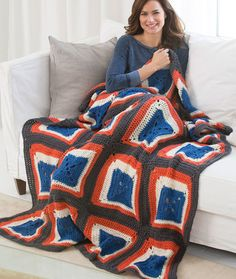 Squared on the Side Throw Free Crochet Pattern from Red Heart Yarns