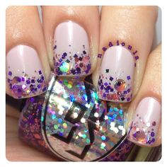 Glitter gradient using Loaded Lacquer Saki Bomb over OPI Steady As She Rose.