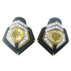 Vintage David Webb 18K Gold Platinum Diamond Sapphire Enamel Earrings  http://oakgem.com/