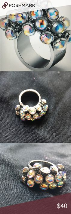 Original Swatch Love Explosion Ring Stainless steel ring with clear beads!            Size 7         FINAL PRICE! Swatch Jewelry Rings